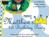 Prince First Birthday Invitations Little Prince Custom Digital Photo Birthday Party