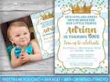 Prince First Birthday Invitations Prince Invitation Little Prince First Birthday Boy