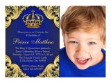 Prince First Birthday Invitations Royal Blue Gold Prince Birthday Party Invitations Zazzle