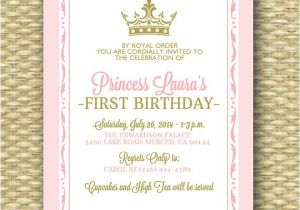 Princess 1st Birthday Invitation Wording Pink and Gold Princess First Birthday Invitation Royal Baby