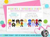 Princess and Superhero Party Invitation Template Princess Superhero Party Invitation Instant Download