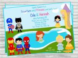 Princess and Superhero Party Invitation Template Princess Superhero Party Invitations Home Party Ideas