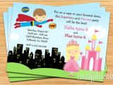 Princess and Superhero Party Invitation Template Superhero and Princess Birthday Party Invitation Printable
