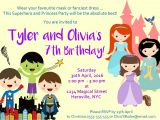 Princess and Superhero Party Invitation Template Superhero Princess Party Invitation Encore Kids Parties