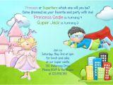 Princess and Superhero Party Invitations Princess and Superhero Birthday Invitation Castle Invite