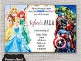 Princess and Superhero Party Invitations Princesses and Superheroes Birthday Invite Princesses and