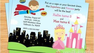 Princess and Superhero Party Invitations Superhero and Princess Birthday Party Invitation Printable