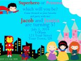 Princess and Superhero Party Invitations Superhero and Princess Invitation Superhero by