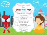 Princess and Superhero Party Invitations Superhero Princess Birthday Invitation Invite Sibling