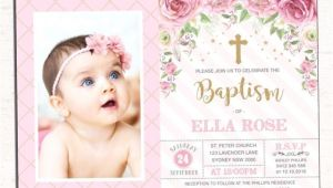 Princess Baptism Invitations Princess Baptism Invitation Pink Gold Floral Christening