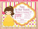 Princess Belle Party Invitations Belle Invitation Princess Belle Party Invitation Belle