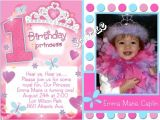 Princess First Birthday Invitation Wording Princess 1st Birthday Invitations