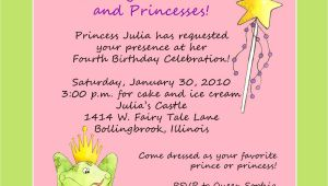 Princess Party Invite Wording Princess theme Birthday Party Invitation Custom Wording