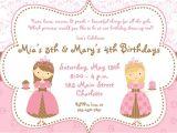 Princess Tea Party Invitation Wording Princess Tea Party Birthday Invitations