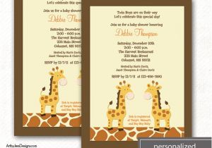 Print Yourself Baby Shower Invitations Giraffe Jungle Neutral Twin Boy Baby Shower Invitation