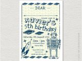 Printable Alien Birthday Invitations Printable Robot Space Party Invitation Retro Vintage