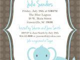 Printable Baby Boy Shower Invitations Printable Baby Shower Invitation Elephant Boy Light Blue