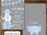 Printable Baby Shower Invitations Elephant theme Elephant Baby Shower Invitation Co Ed Baby Shower Invitation
