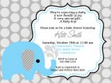 Printable Baby Shower Invitations Elephant theme Printable Blue Elephant Baby Shower Invitation Customized