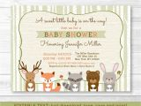 Printable Baby Shower Invitations Woodland Animals Woodland Animals Fox Deer Bear Neutral Baby Shower