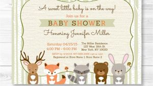 Printable Baby Shower Invitations Woodland Animals Woodland Animals Fox Deer Bear Neutral Baby Shower