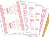 Printable Birthday Invitation Kits Pink and Gold Party Invitation Decorations Kit Printable