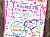 Printable Birthday Invitations for Tweens Custom Girl S Sweet 16 Tween Teen Sleepover Doodle