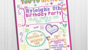 Printable Birthday Invitations for Tweens Items Similar to Printable 5×7 Sleepover Tween Birthday