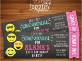 Printable Birthday Invitations for Tweens Printable Tween Emoji Chalkboard Ticket Birthday