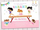 Printable Gymnastics Birthday Invitations Gymnastic Birthday Invitation Printable Gymnastics