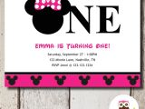 Printable Minnie Mouse First Birthday Invitations Minnie Mouse 1st Birthday Invitation Printable Diy