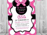 Printable Minnie Mouse First Birthday Invitations Minnie Mouse 1st Birthday Invitations Printable Girls