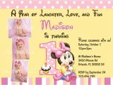 Printable Minnie Mouse First Birthday Invitations Minnie Mouse First 1st Birthday Printable Invitation
