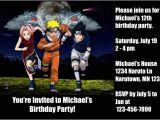 Printable Naruto Birthday Invitations Naruto Invitations 2 Personalized Party Invites