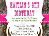 Printable Pink Camo Birthday Invitations Realtree Camo Girl Hunting Birthday Party Printable