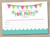 Printable Pool Party Invitations Girls Pool Party Printable Invitation Fill by