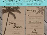 Printable Seashell Wedding Invitations Beach Kraft Paper Wedding Invitation Palm Trees island