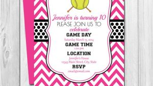 Printable softball Birthday Invitations softball Birthday Party Invitation Pink and Black