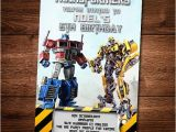Printable Transformer Birthday Invitations Transformers Birthday Invitation Card Bumble Bee Optimus