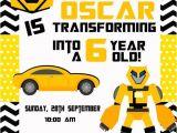 Printable Transformer Birthday Invitations Transforming Birthday Invitation Printable 4×6 by