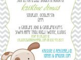Puppy Dog Baby Shower Invitations Chevron & Puppy or Dog theme Baby Shower Invitation or