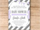 Purple and Gray Baby Shower Invitations Baby Shower Invitation Purple Grey Baby Shower Invitation