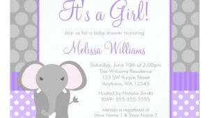 Purple and Gray Baby Shower Invitations Purple Gray Elephant Polka Dot Girl Baby Shower Invitation