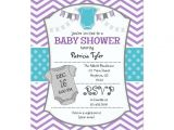Purple and Gray Baby Shower Invitations Teal Purple Gray Chevron Baby Shower Invitation