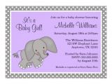 Purple and Gray Elephant Baby Shower Invitations Cute Purple Elephant Girl Baby Shower Invitations