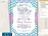 Purple and Gray Elephant Baby Shower Invitations Purple Teal Grey Girl Elephant and Mommy Baby Shower Invi