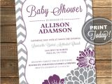 Purple and Grey Baby Shower Invitations Purple and Gray Baby Shower Invitation by Invitingdesignstudio