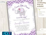 Purple and Grey Baby Shower Invitations Purple Grey Elephant Invitation for Baby Shower Little Peanut