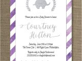 Purple and Silver Baby Shower Invitations Purple & Silver Baby Shower Invitation Elephant Watercolor