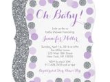Purple and Silver Baby Shower Invitations Purple & Silver Dot Baby Shower Invitations